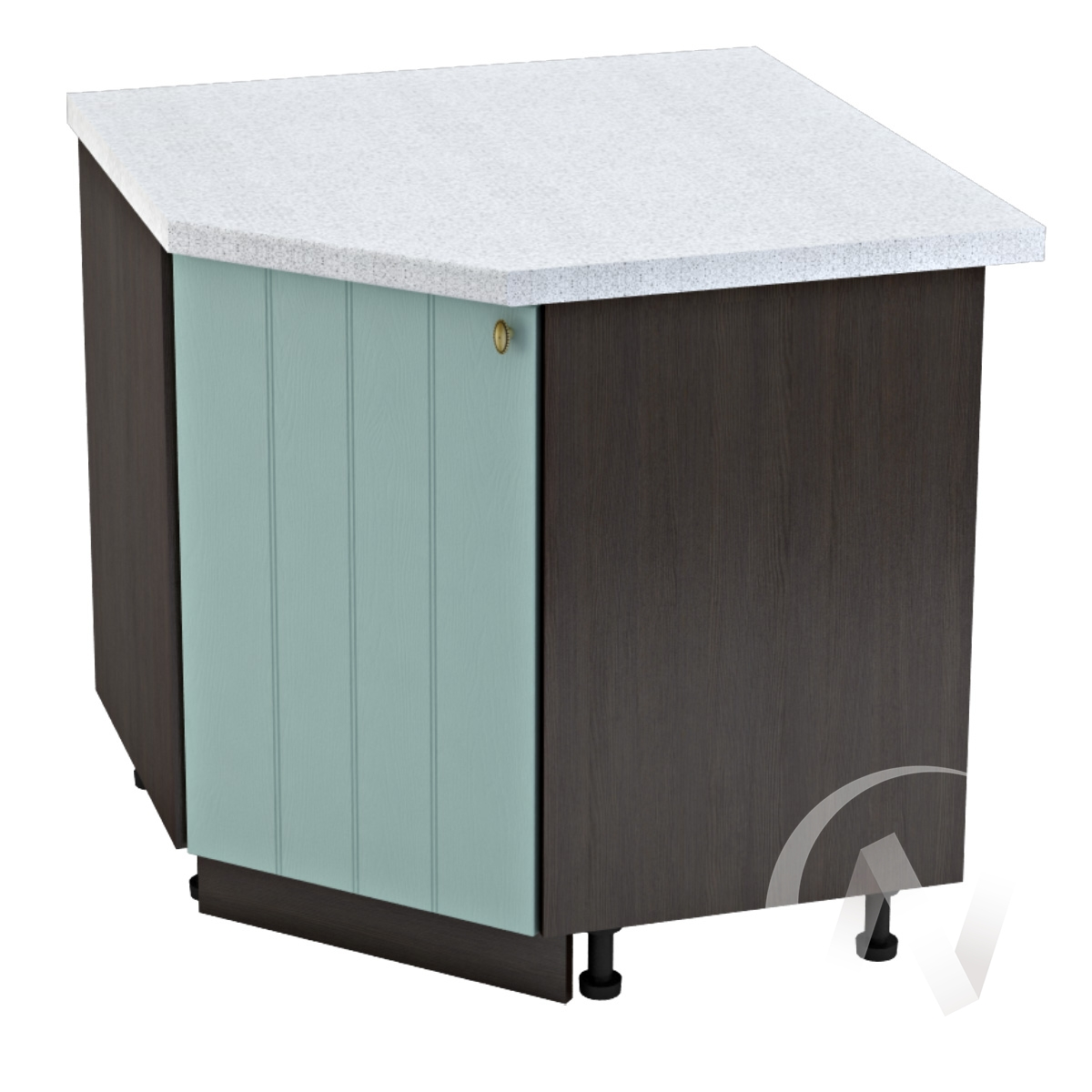 """Кухня """"Прованс"""": Шкаф нижний угловой 890, ШНУ 890 (голубой/корпус венге)"""
