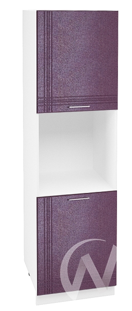 """Кухня """"Струна"""": Шкаф пенал 600, ШП 600 (фиолетовый металлик/корпус белый)"""