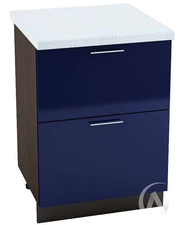 "Кухня ""Валерия-М"": Шкаф нижний с 2-мя ящиками 600, ШН2Я 600 (Синий глянец/корпус венге)"