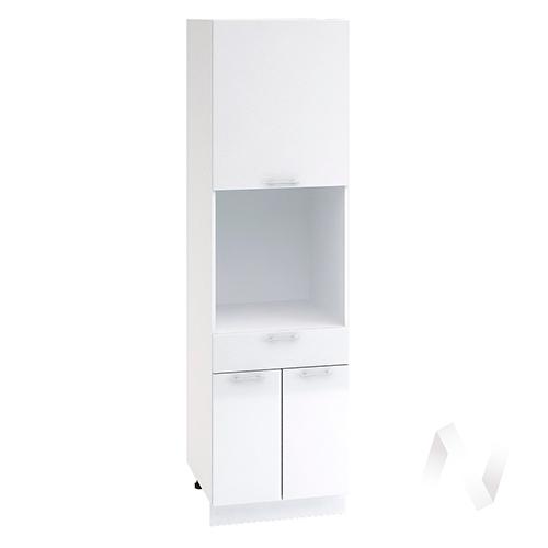 """Кухня """"Валерия-М"""": Шкаф пенал с ящиком 600, ШП1Я 600 (белый металлик/корпус белый)"""