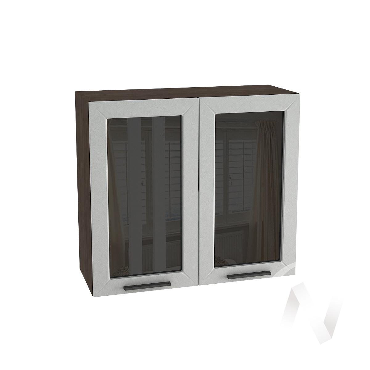 """Кухня """"Глетчер"""": Шкаф верхний со стеклом 800, ШВС 800 (Гейнсборо Силк/корпус венге)"""
