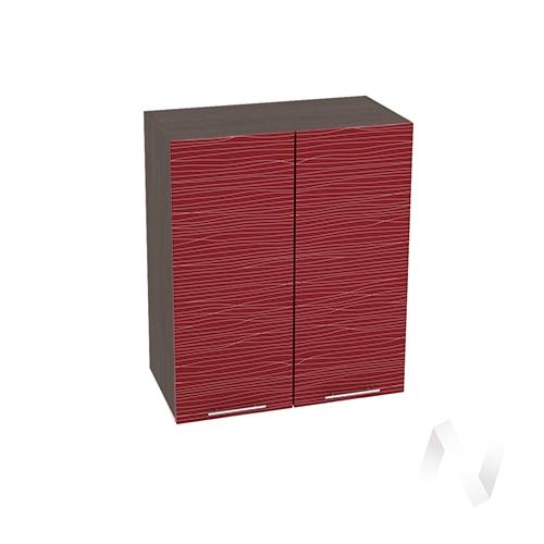 """Кухня """"Валерия-М"""": Шкаф верхний 600, ШВ 600 (Страйп красный/корпус венге)"""