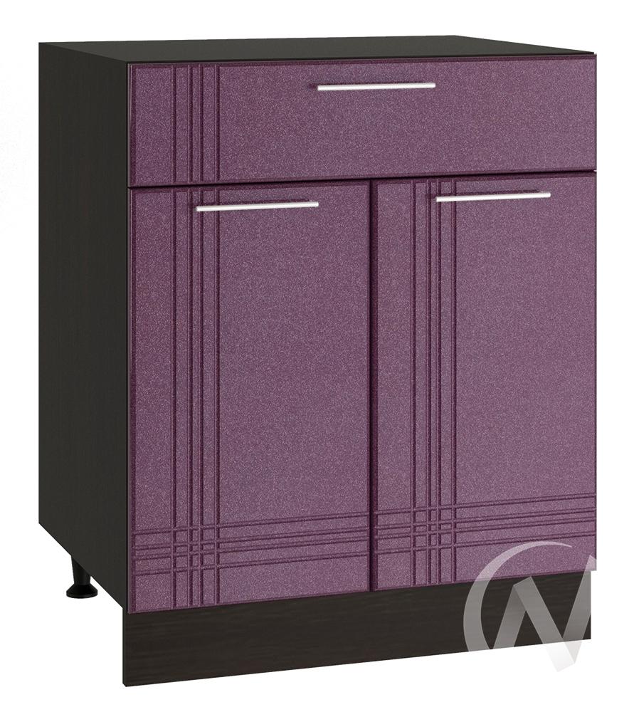 """Кухня """"Струна"""": Шкаф нижний с ящиком 600, ШН1Я 600 М (фиолетовый металлик/корпус венге)"""