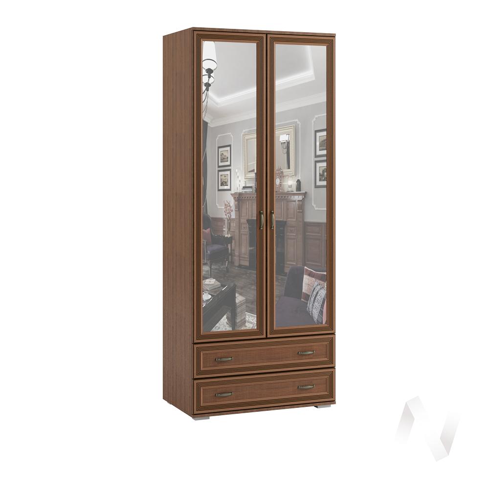 Шкаф 2-х ств с зеркалом ЛШ-23 Спальня Ливорно (орех донской)