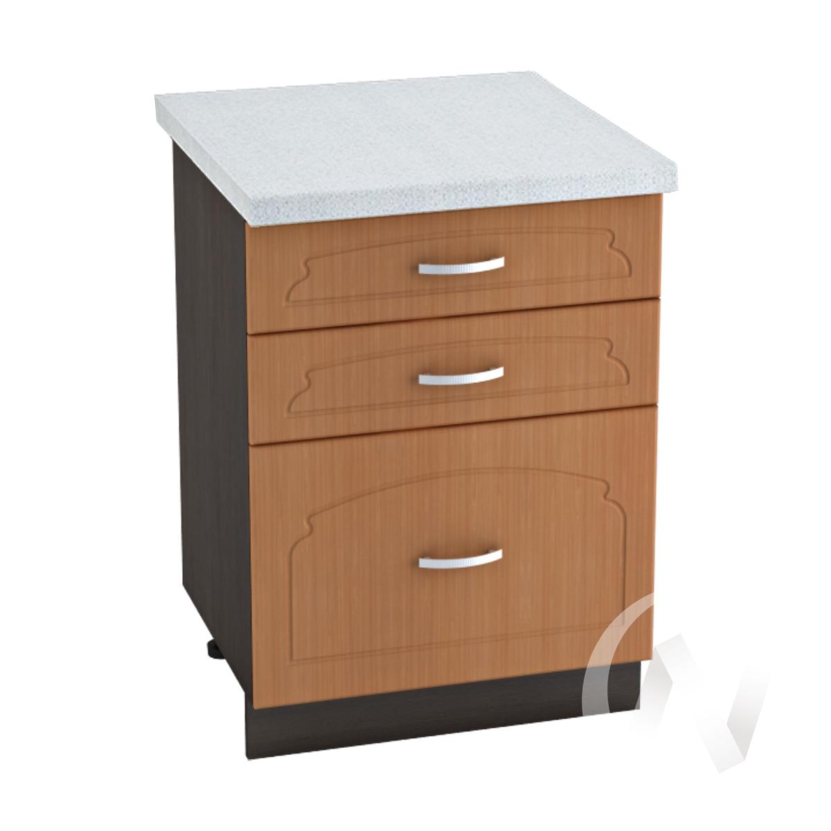 """Кухня """"Настя"""": Шкаф нижний с 3-мя ящиками 600, ШН3Я 600 (Орех миланский/корпус венге)"""