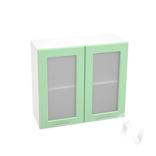 """Кухня """"Вега"""": Шкаф верхний со стеклом 800, ШВС 800 (салатовый металлик/корпус белый)"""