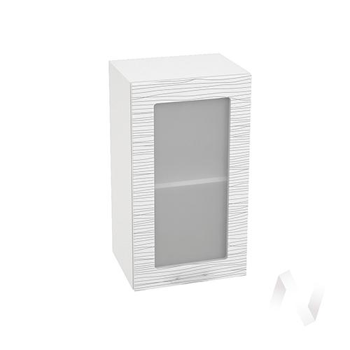 """Кухня """"Валерия-М"""": Шкаф верхний со стеклом 400, ШВС 400 (Страйп белый/корпус белый)"""