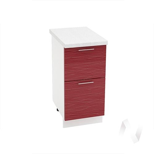 """Кухня """"Валерия-М"""": Шкаф нижний с 2-мя ящиками 400, ШН2Я 400 (Страйп красный/корпус белый)"""