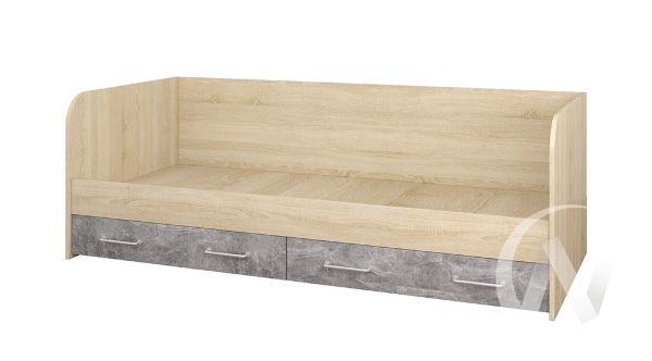 Кровать с ящиками Лофт Детская Колибри (дуб сонома/ателье светлое,акрил белый)
