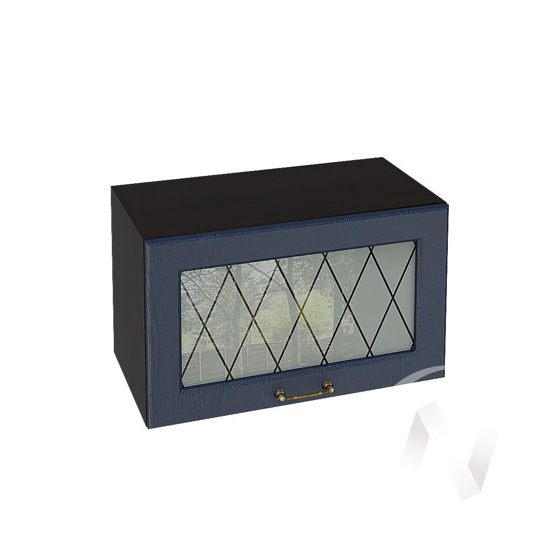 """Кухня """"Ницца"""": Шкаф верхний горизонтальный со стеклом 600, ШВГС 600 (Дуб чернильный/корпус венге)"""