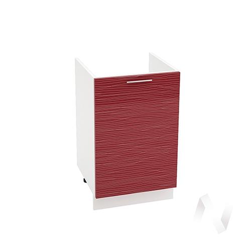 "Кухня ""Валерия-М"": Шкаф нижний под мойку 500, ШНМ 500 (Страйп красный/корпус белый)"