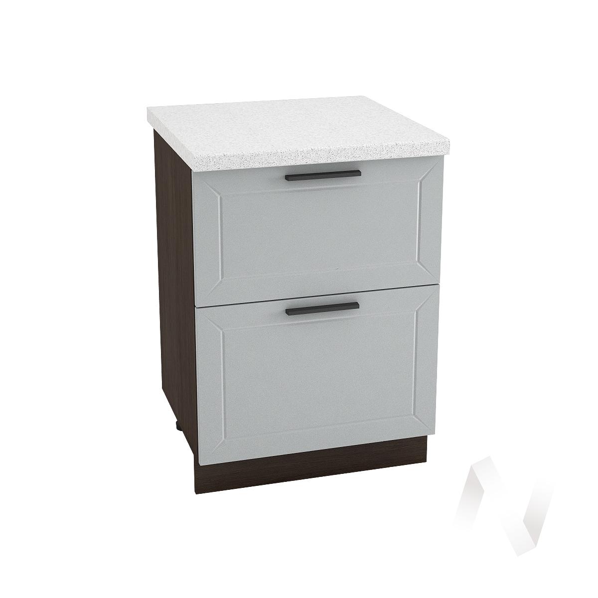 """Кухня """"Глетчер"""": Шкаф нижний с 2-мя ящиками 600, ШН2Я 600 (Гейнсборо Силк/корпус венге)"""