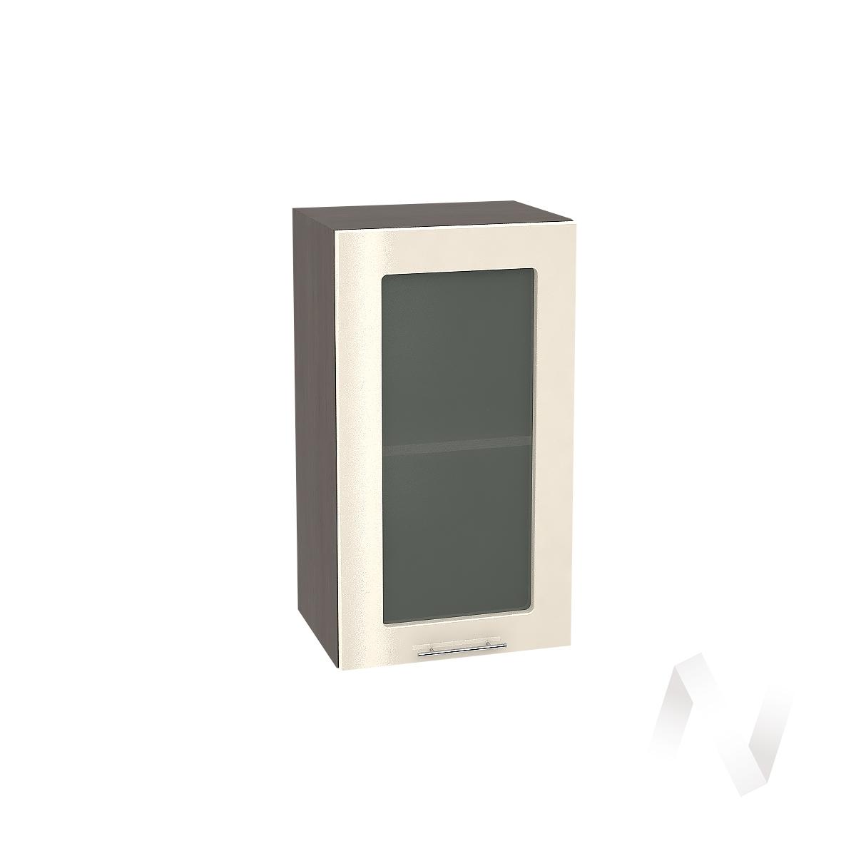 """Кухня """"Валерия-М"""": Шкаф верхний со стеклом 400, ШВС 400 (Ваниль глянец/корпус венге)"""