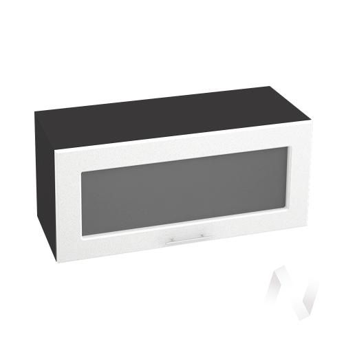 """Кухня """"Вега"""": Шкаф верхний горизонтальный со стеклом 800, ШВГС 800 (белый металлик/корпус венге)"""