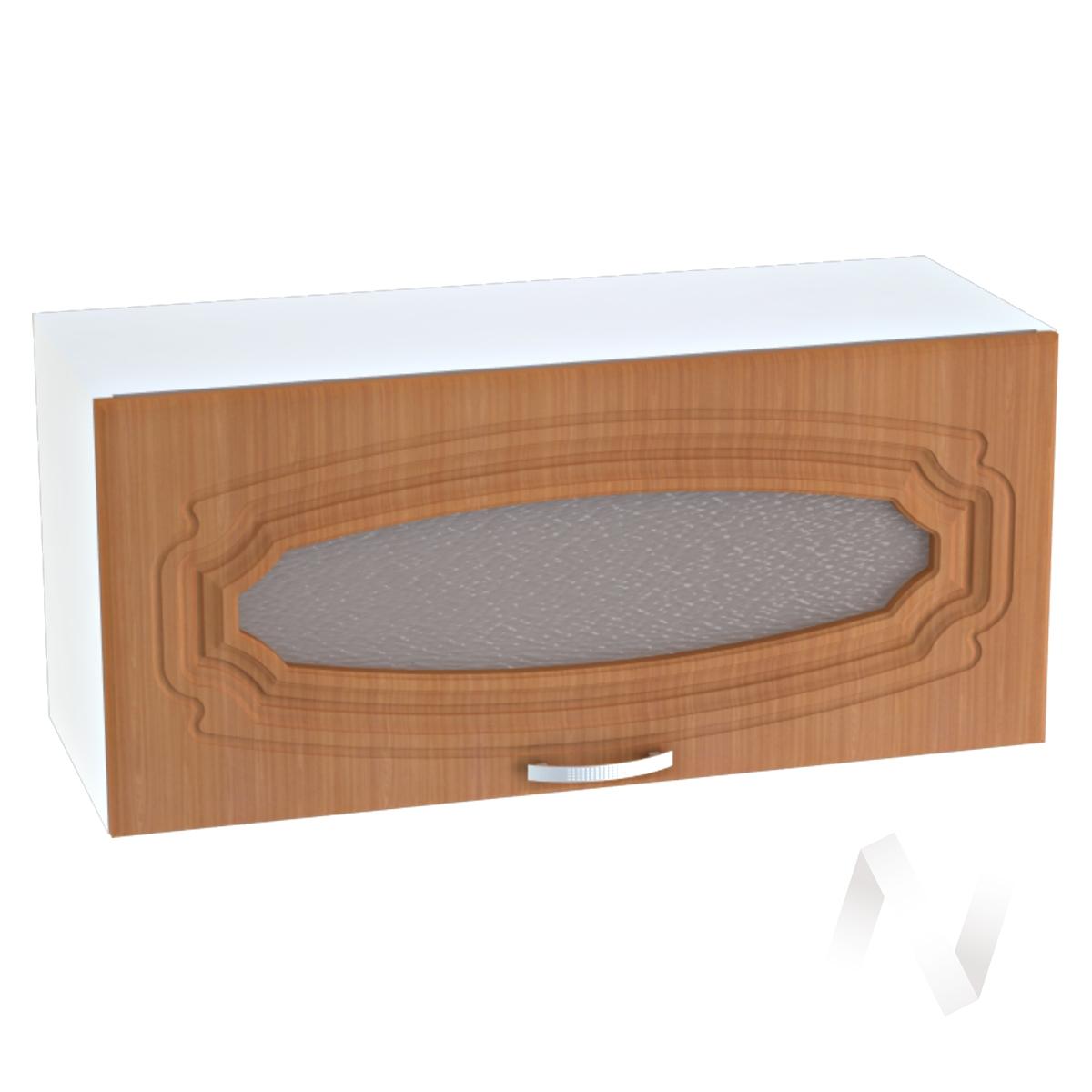 """Кухня """"Настя"""": Шкаф верхний горизонтальный со стеклом 800, ШВГС 800 (Орех миланский/корпус белый)"""