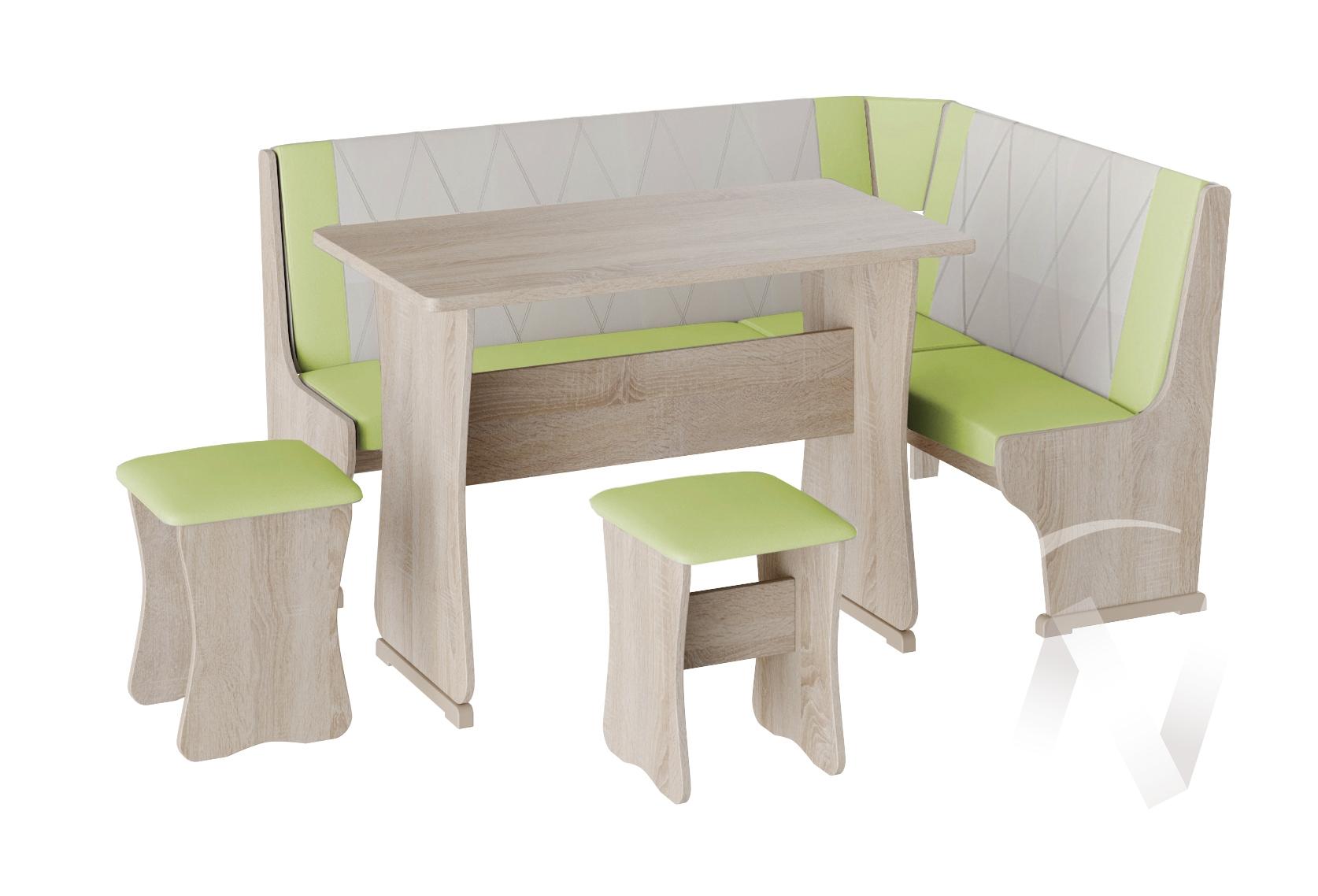 Кухонный уголок Гамма тип 2 кожзам (дуб сонома/фисташка,бежевый)  в Томске — интернет магазин МИРА-мебель