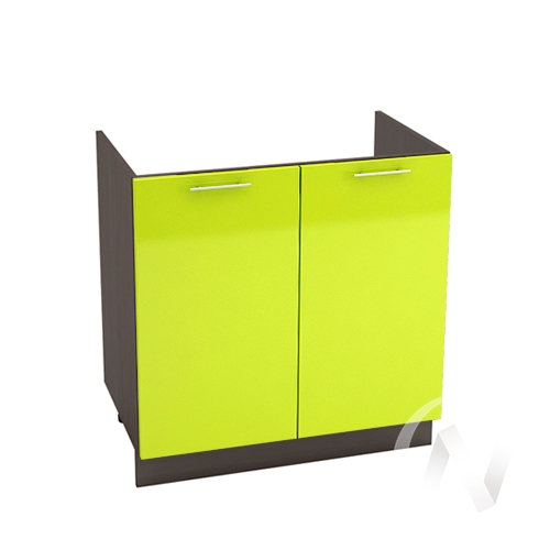 "Кухня ""Валерия-М"": Шкаф нижний под мойку 800, ШНМ 800 (лайм глянец/корпус венге)"