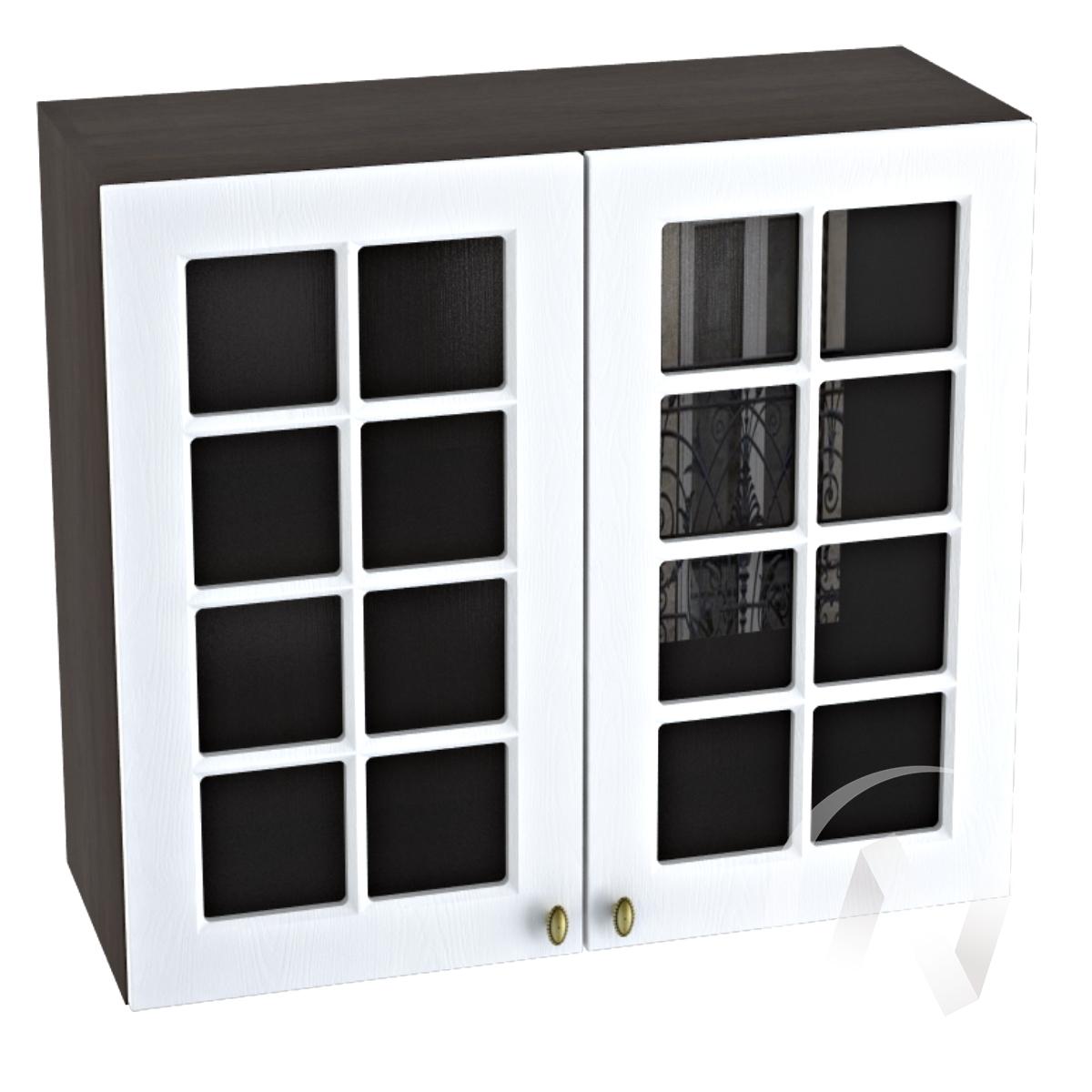 """Кухня """"Прованс"""": Шкаф верхний со стеклом 800, ШВС 800 (белое дерево/корпус венге)"""