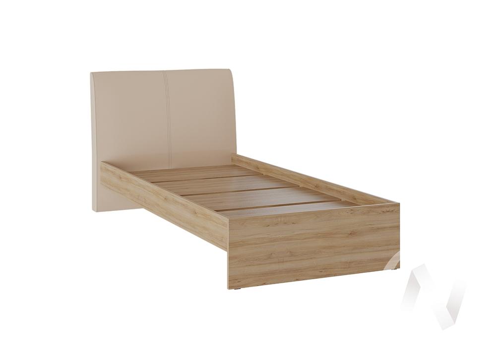 Кровать Доминика 0,9 основание ЛДСП (дуб крафт золотой/кожзам бежевый)  в Томске — интернет магазин МИРА-мебель