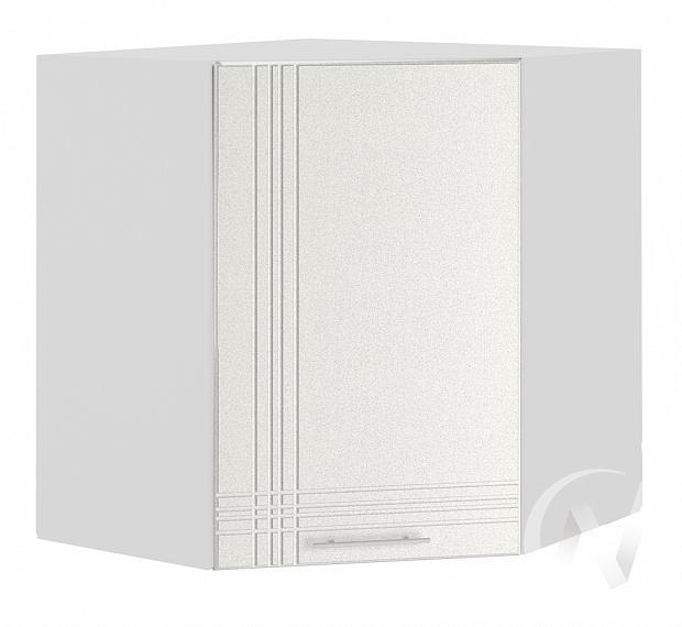 """Кухня """"Струна"""": Шкаф верхний угловой 590, ШВУ 590 (белый металлик/корпус белый)"""