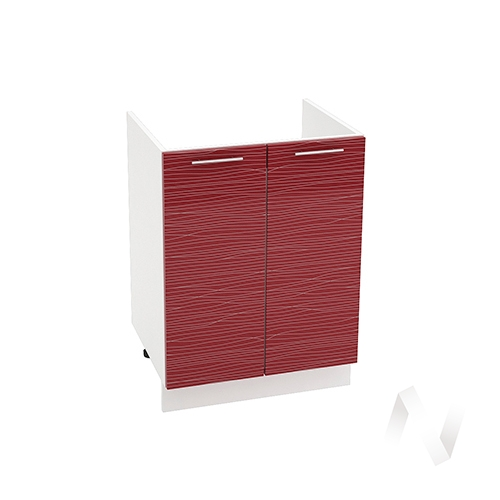 "Кухня ""Валерия-М"": Шкаф нижний под мойку 600, ШНМ 600 (Страйп красный/корпус белый)"