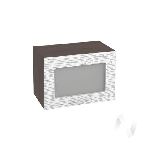 """Кухня """"Валерия-М"""": Шкаф верхний горизонтальный со стеклом 500, ШВГС 500 (Страйп белый/корпус венге)"""