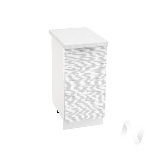 "Кухня ""Валерия-М"": Шкаф нижний 400, ШН 400 (Страйп белый/корпус белый)"
