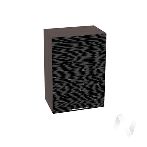 """Кухня """"Валерия-М"""": Шкаф верхний 500, ШВ 500 (Страйп черный/корпус венге)"""