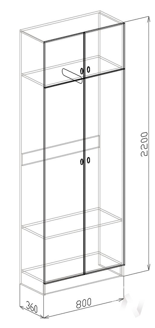 Шкаф 2х створчатый Прихожая Вега (ясень шимо темный-рельеф пастель)  в Томске — интернет магазин МИРА-мебель