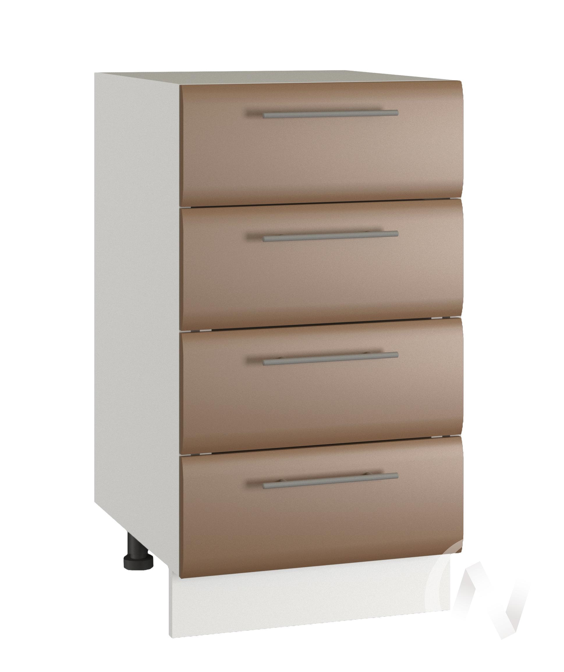 """Кухня """"Люкс"""": Шкаф нижний с 4-мя ящиками 400, ШН4Я 400 (Шоколад матовый/корпус белый)"""