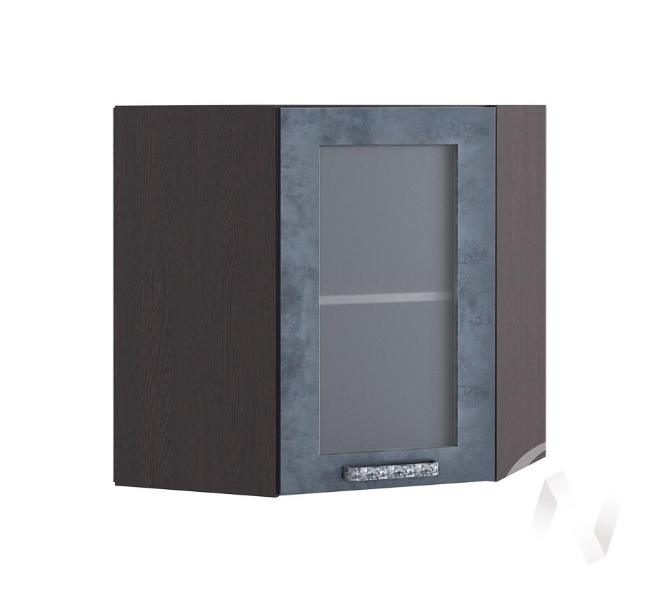"""Кухня """"Лофт"""": Шкаф верхний угловой со стеклом 590, ШВУС 590 (Бетон графит/корпус венге)"""
