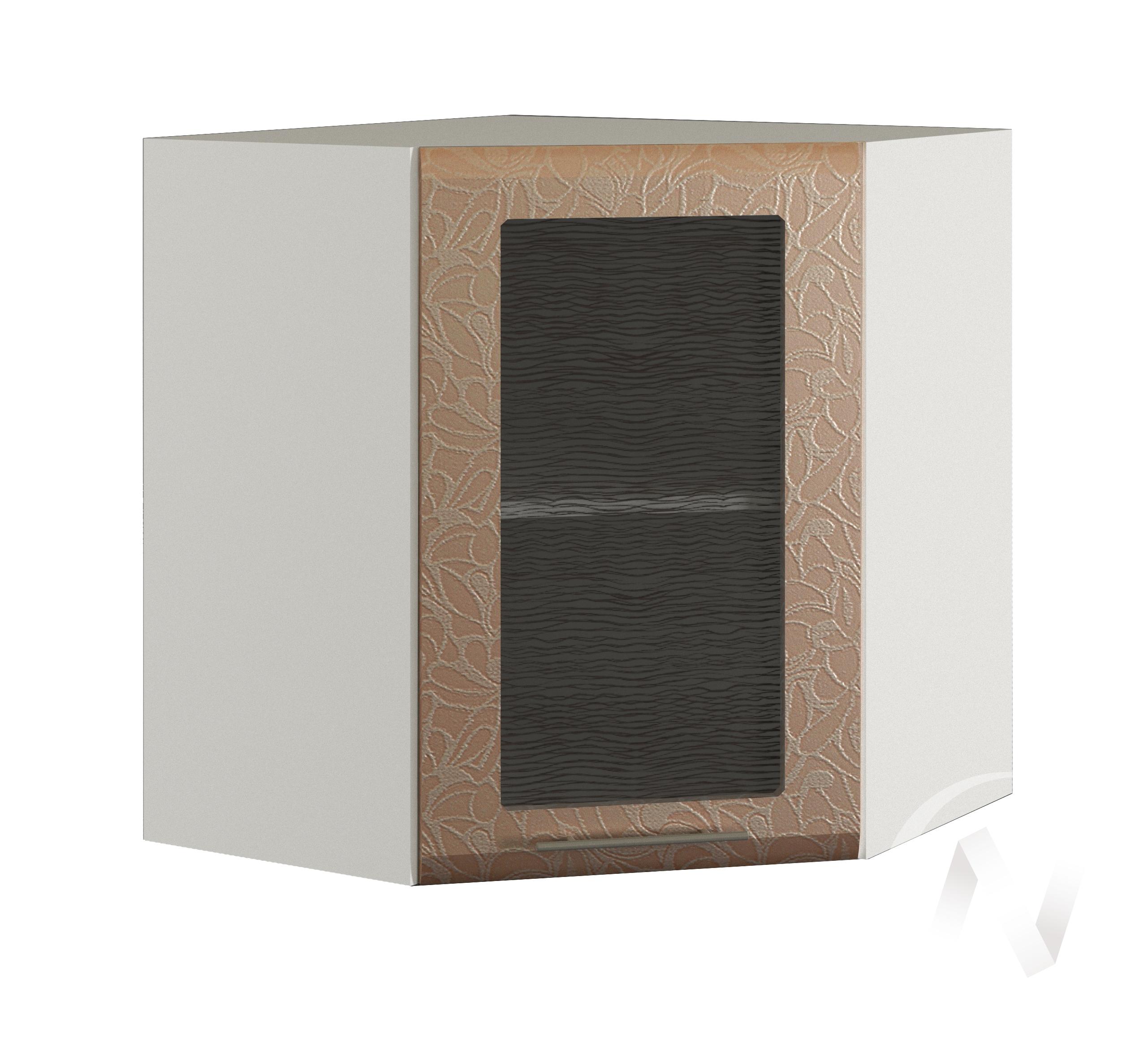 """Кухня """"Люкс"""": Шкаф верхний угловой со стеклом 590, ШВУС 590 (Гобелен шампань/корпус белый)"""