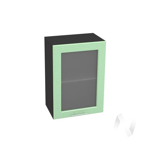 """Кухня """"Вега"""": Шкаф верхний со стеклом 500, ШВС 500 (салатовый металлик/корпус венге)"""