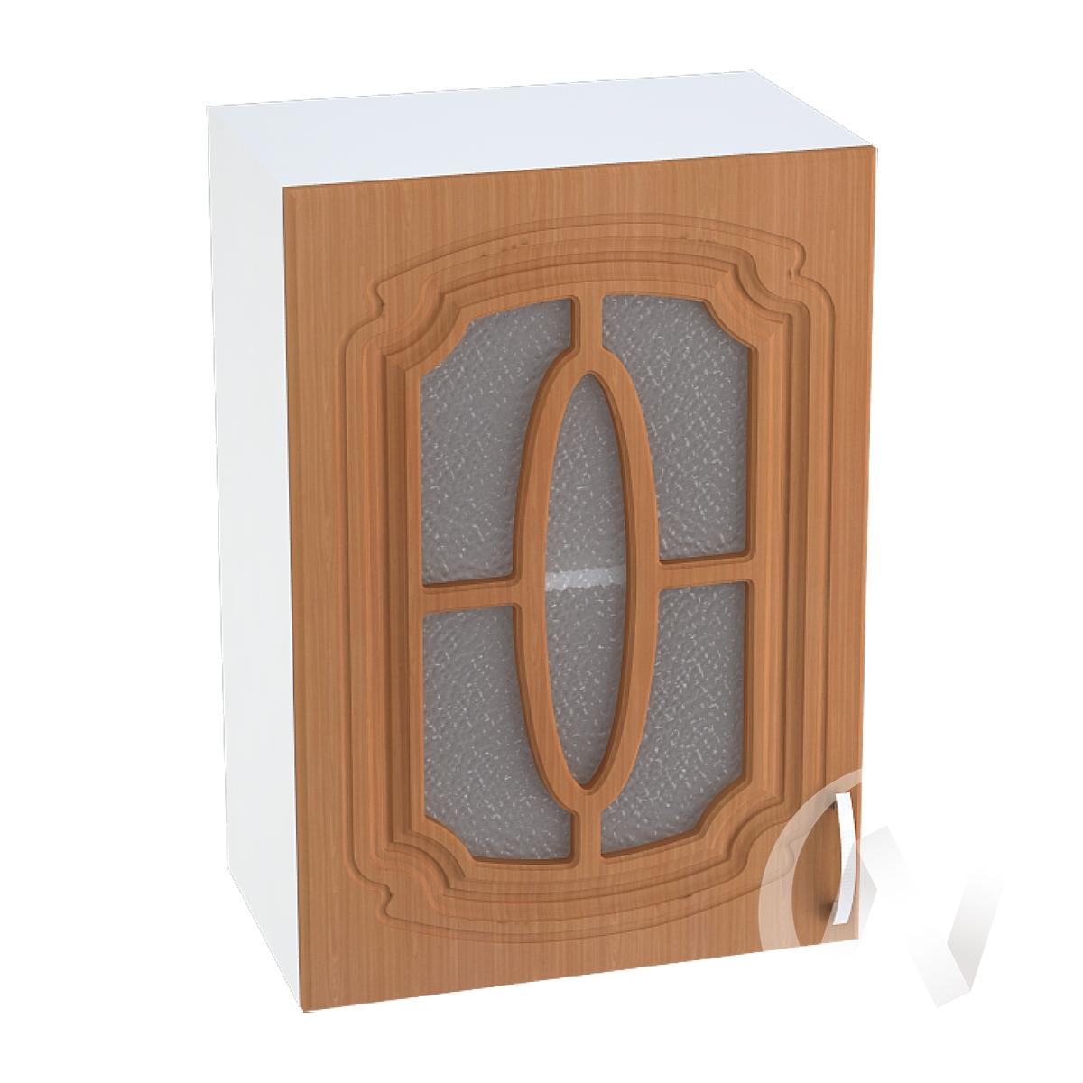 """Кухня """"Настя"""": Шкаф верхний со стеклом 500, ШВС 500 (Орех миланский/корпус белый)"""