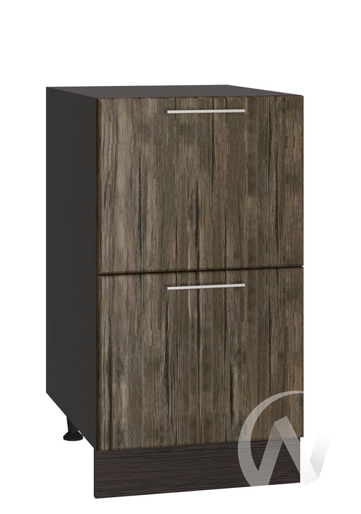 """Кухня """"Норден"""": Шкаф нижний с 2-мя ящиками 400, ШН2Я 400 (старое дерево/корпус венге)"""