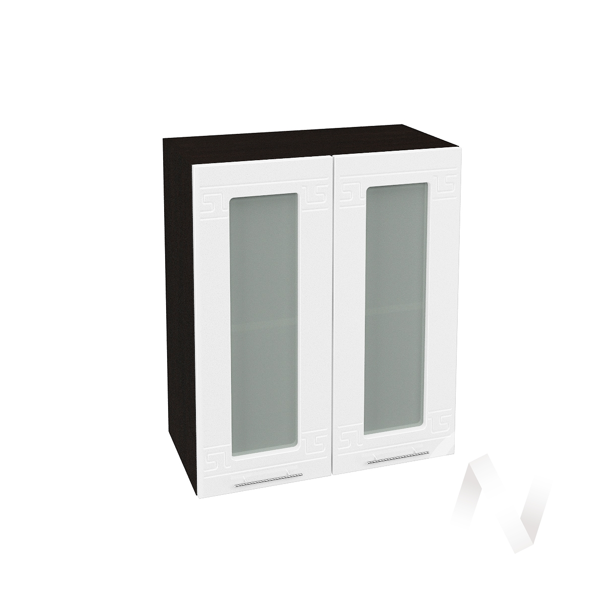 """Кухня """"Греция"""": Шкаф верхний со стеклом 600, ШВС 600 (белый металлик/корпус венге)  в Новосибирске - интернет магазин Мебельный Проспект"""