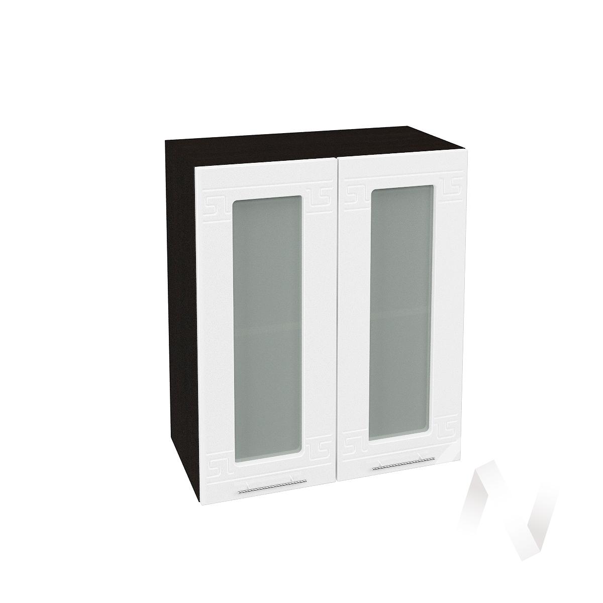 "Кухня ""Греция"": Шкаф верхний со стеклом 600, ШВС 600 (белый металлик/корпус венге)"