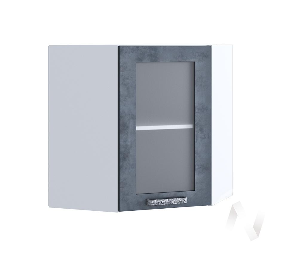 """Кухня """"Лофт"""": Шкаф верхний угловой со стеклом 590, ШВУС 590 (Бетон графит/корпус белый)"""