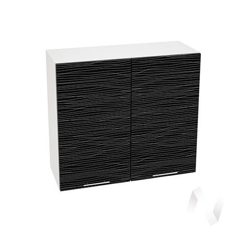 """Кухня """"Валерия-М"""": Шкаф верхний 800, ШВ 800 (Страйп черный/корпус белый)"""