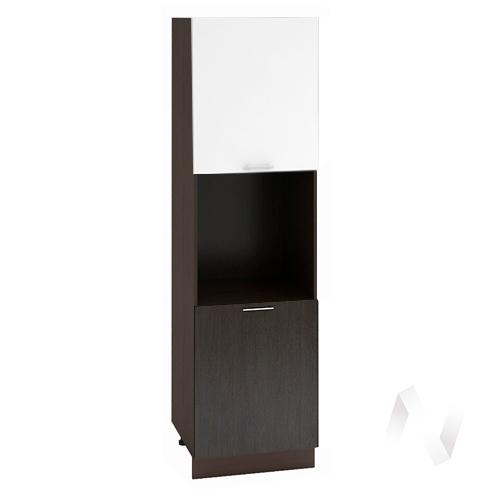 """Кухня """"Валерия-М"""": Шкаф пенал 600, ШП 600 (белый глянец/венге/корпус венге)"""