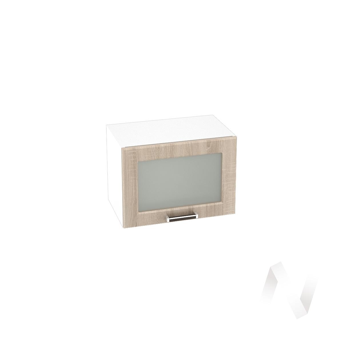 """Кухня """"Прага"""": Шкаф верхний горизонтальный со стеклом 500, ШВГС 500 (дуб сонома/корпус белый)"""