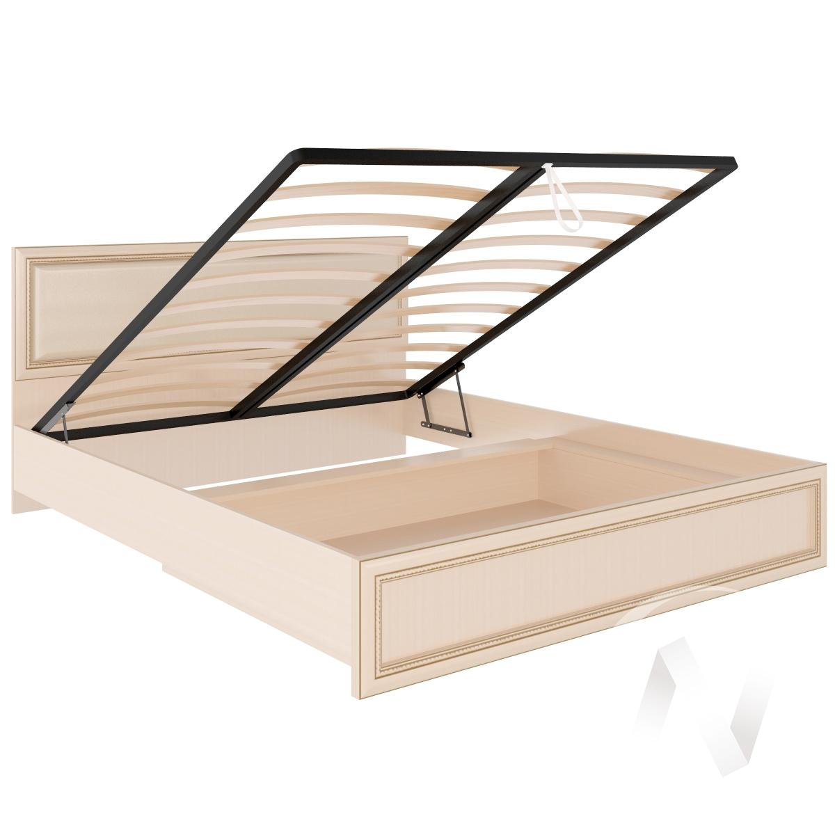 Кровать Беатрис стандарт с подъёмным механизмом и мягкой спинкой М11 1,6 (Дуб млечный)