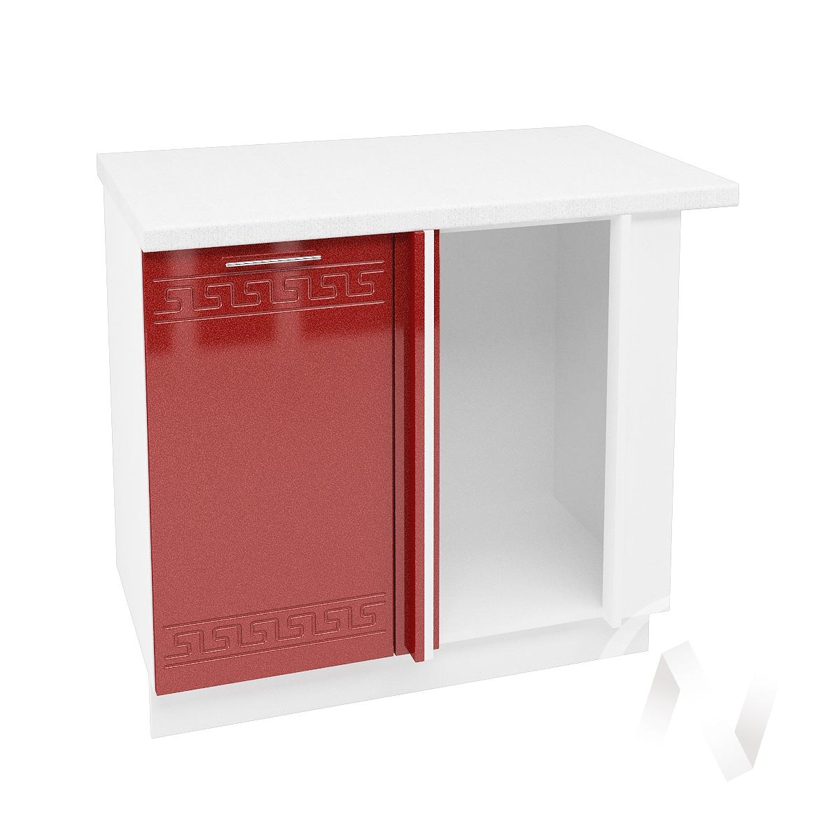"""Кухня """"Греция"""": Шкаф нижний угловой 990М, ШНУ 990М (гранатовый металлик/корпус белый)"""