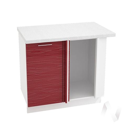 """Кухня """"Валерия-М"""": Шкаф нижний угловой 990М, ШНУ 990М (Страйп красный/корпус белый)"""