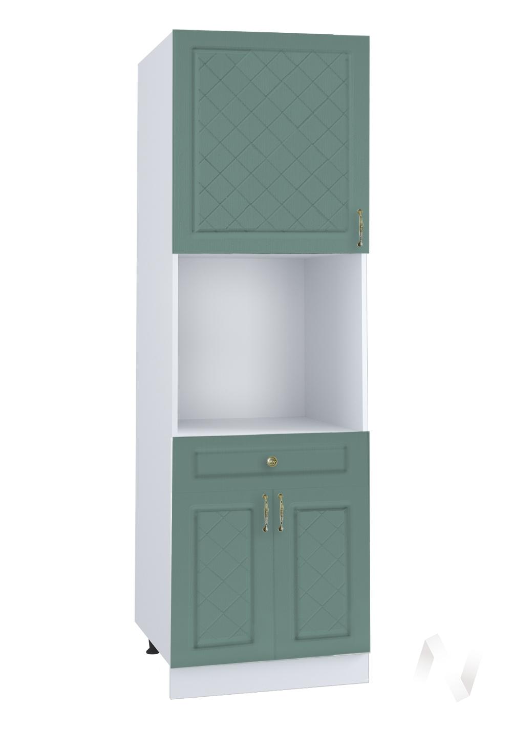 """Кухня """"Селена"""": Шкаф пенал с ящиком 600, ШП1Я 600 (Дуб бирюзовый/корпус белый)"""