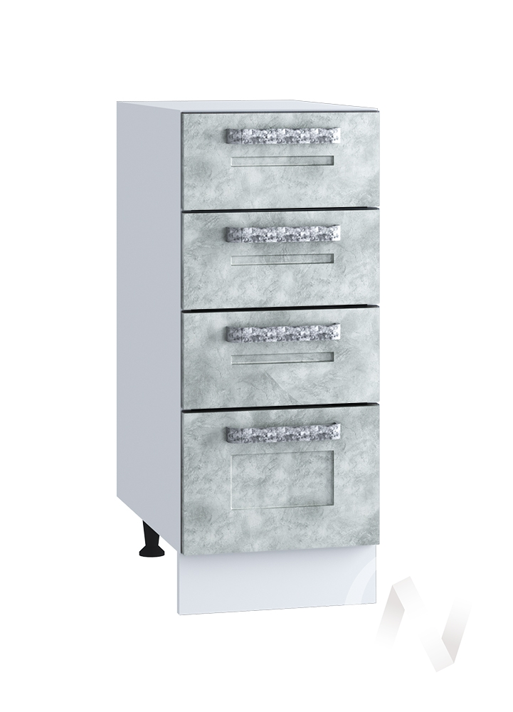"Кухня ""Лофт"": Шкаф нижний с 4-мя ящиками 300, ШН4Я 300 (Бетон серый/корпус белый)"