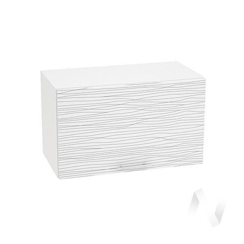 """Кухня """"Валерия-М"""": Шкаф верхний горизонтальный 600, ШВГ 600 (Страйп белый/корпус белый)"""