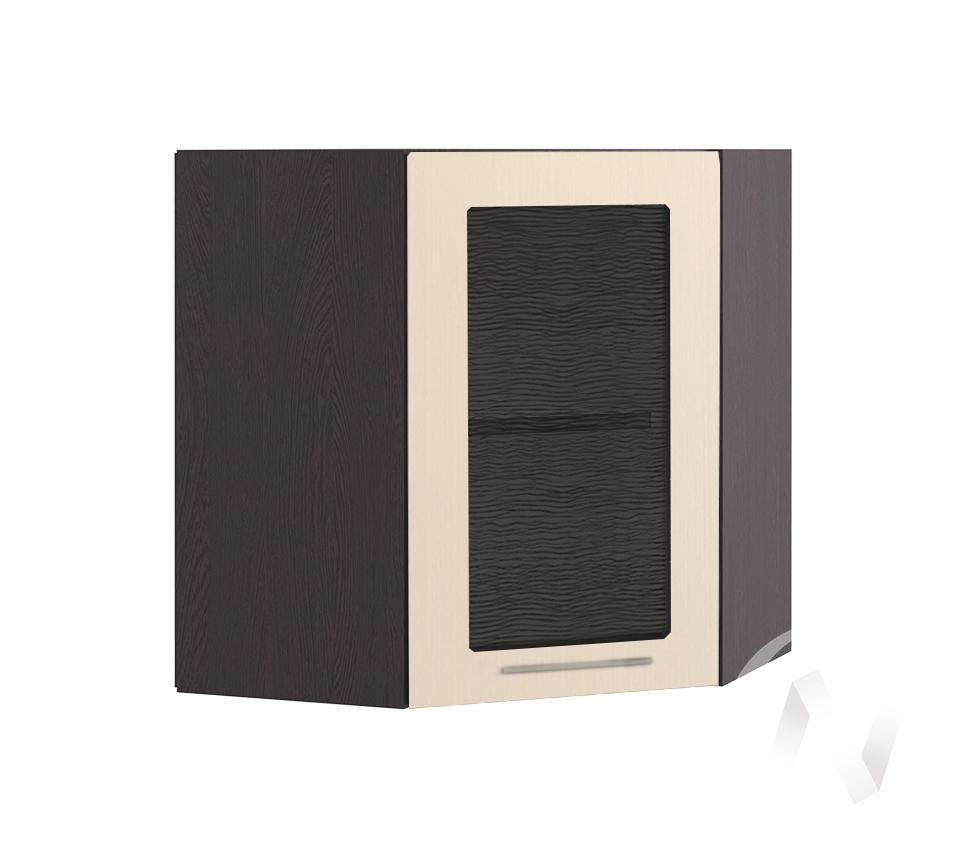 """Кухня """"Люкс"""": Шкаф верхний угловой со стеклом 590, ШВУС 590 (Шелк жемчуг/корпус венге)"""