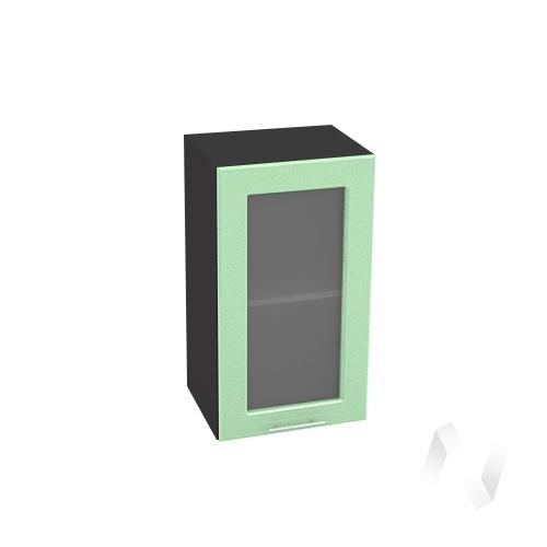 """Кухня """"Вега"""": Шкаф верхний со стеклом 400, ШВС 400 (салатовый металлик/корпус венге)"""