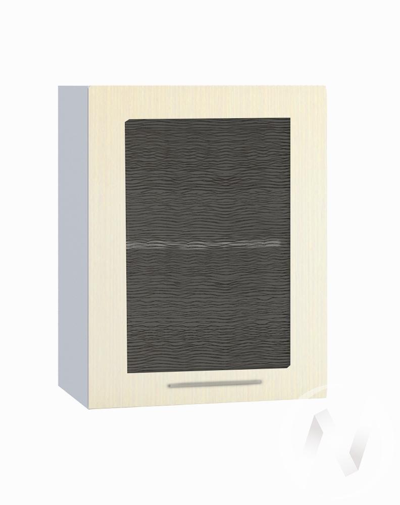 """Кухня """"Люкс"""": Шкаф верхний со стеклом 500, ШВС 500 (Шелк жемчуг/корпус белый)"""